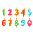 cartoon anniversary numbers candle celebration vector image