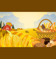 cartoon beautiful fall farm scene vector image vector image