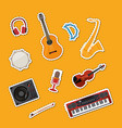 cartoon musical instruments stickers set vector image vector image