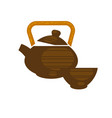 ceramic or clay teapot in chinese style with vector image