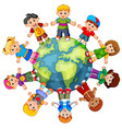 children standing on globe vector image vector image