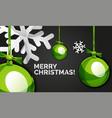 christmas balls happy new year banner black vector image vector image