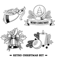 Christmas icons black and white set vector image
