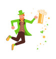 cute cartoon leprechaun with mug of beer vector image vector image
