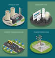 electric power 4 isometric icons vector image vector image