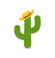 exotic cactus in straw hat hand drawn mexican vector image vector image