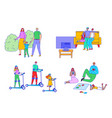 family time set line happy vector image vector image