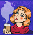 girl with coffee pop art comics vector image vector image