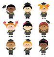 group graduation kids with graduation gowns vector image
