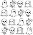 halloween seamless pattern with ghost and grave vector image