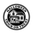 halloween vintage round emblem with scary house vector image