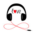 headphones with cord cable and word love red vector image vector image