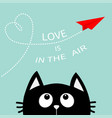 heart loop love is in the air text black cat vector image