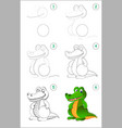 how to draw step step a cute toy crocodile vector image vector image