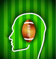 Human head with rugby football American ball vector image vector image