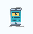 media music player video mobile flat icon green vector image