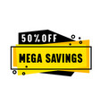 mega savings price off promo banner with abstract vector image