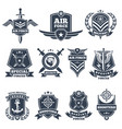Military logos and badges army symbols isolated