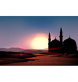 Nature scene with mosque during sunset vector image vector image