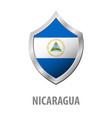 nicaragua flag on metal shiny shield vector image vector image