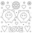 pigs coloring page black and white vector image