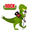 Rock dinosaur Tyrannosaurus is singing into vector image