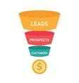 sales funnel business concept wof leads prospects vector image vector image