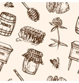 Seamless pattern with honey elements Jar spoon vector image