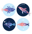 set fishes sea creatures vector image vector image
