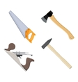 set of carpenter hand plane saw hammer axe vector image