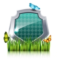 Shield with flying butterflies by the grass vector image vector image