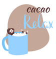sloth bathing in cacao mug relax lettering vector image vector image