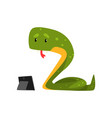 snake working with a tablet cute reptile cartoon vector image