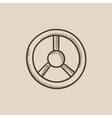 Steering wheel sketch icon vector image vector image