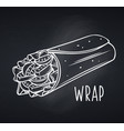 takeaway food wrap icon chalkboard vector image