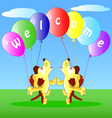 the dogs with balloons vector image