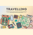 travelling top view banner in line art style vector image vector image