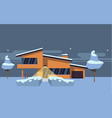 winter country house flat vector image vector image