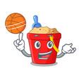 with basketball beach bucket shape with sand vector image