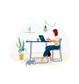 work at home concept design freelance woman vector image vector image