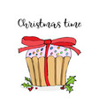 christmas cake merry christmas greeting card with vector image