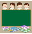 Cute student post smile on a chalkboard vector image