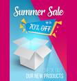 summer sale banner open box vector image
