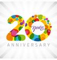 20 years bubbles ribbon colorful logo vector image vector image