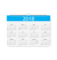 2018 new year calendar holiday event plannerweek vector image