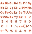 Alphabet numbers and signs set brick vector image vector image