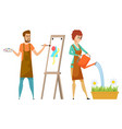 artist and gardener drawing and watering vector image vector image