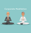 businessman elderly old corporate yoga meditation vector image vector image