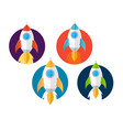 cartoon color rockets ships icons set vector image vector image