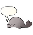 cartoon seal and speech bubble in smooth gradient vector image vector image